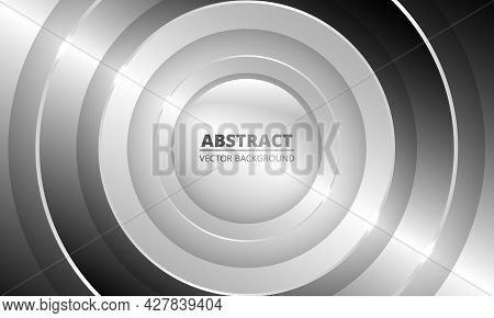Luxury 3d Silver And Gray Abstract Geometric Vector Background With Metallic Circles And Lights. 3d