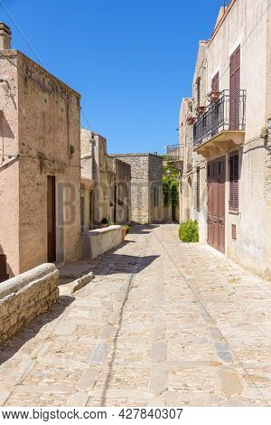 Narrow Street Of The Famous Ancient Town Erice, Sicily, Sicily