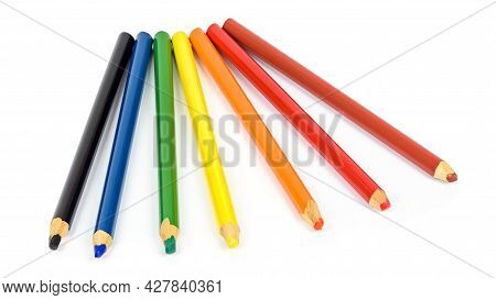 Set Of Colorful Pencils Isolated On White Background With Clipping Path