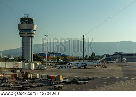 Sofia, Bulgaria - September 02, 2018: Sofia Airport Air Traffic Control Tower, Lbsf, Sof