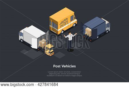 Post Vehicles, Mailing, Fast Envelope And Package Delivery Concept. Postman Or Businessperson Standi
