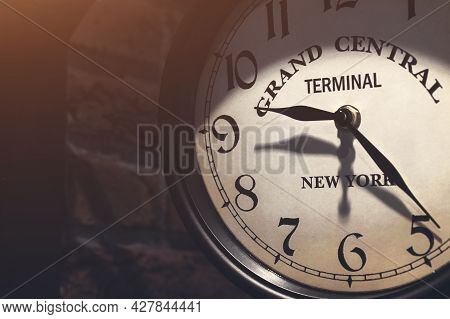 Old Analog Clock, Close-up On The Dial