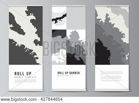 Vector Layout Of Roll Up Mockup Design Template For Vertical Flyers, Flags Design Templates, Banner