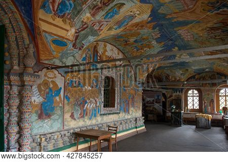 Tutaev, Russia / August 15,2020:frescoes (mid-17th Century) On The Walls Of The Cathedral Of The Res