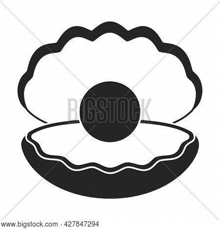Pearl Shell Vector Icon.black Vector Icon Isolated On White Background Pearl Shell.