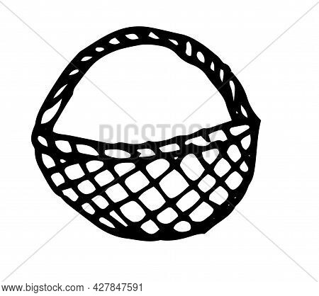 Vector Wicker Basket. A Hand-drawn Rustic Basket, Empty, Side View. Basket Isolated Black Line On A
