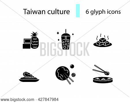Taiwanese National Food Outline Icons Set. Taiwanese Bubble Milk Tea. Oriental Specialty. Tofu Chees