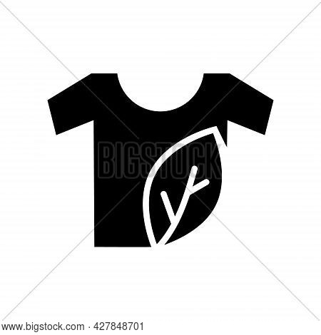 Organic Material Label Glyph Icon. Shirt With Leaf. Fabric Feature. Textile Industry. Black Symbol.