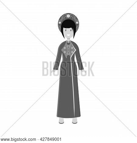 Vector Illustration Of Vietnamese And Woman Logo. Collection Of Vietnamese And Girl Stock Symbol For