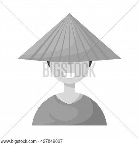 Vector Design Of Vietnamese And Portrait Symbol. Collection Of Vietnamese And Costume Vector Icon Fo