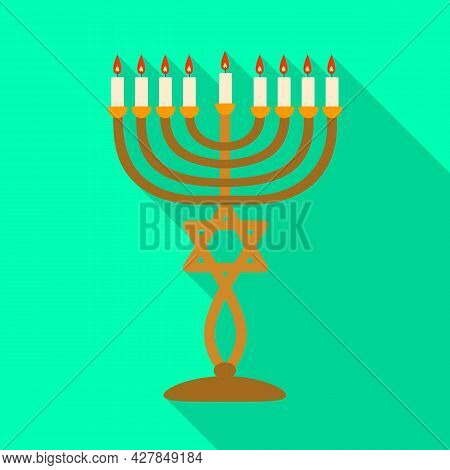 Isolated Object Of Menorah And Star Logo. Graphic Of Menorah And Bright Vector Icon For Stock.