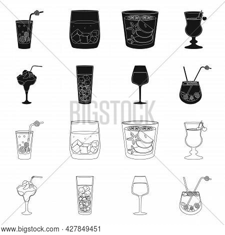 Vector Illustration Of Liquor And Restaurant Logo. Set Of Liquor And Ingredient Vector Icon For Stoc