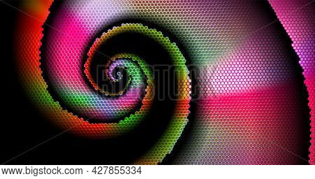 Abstract Technology Multicolored Background Perforated With Hexs. Dark Spiral. Textured Hexagons, Mo