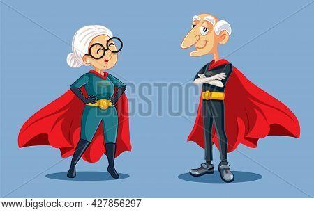 Superhero Grandma And Grandpa Standing Together Vector Cartoon