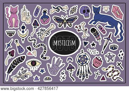 Big Mysticism Set Vector Isolated Stickers. Mystical Items, Witchcraft, Spiritism, Divination. Hand