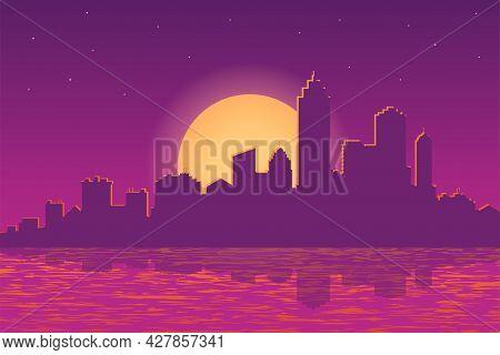 City View With Urban Elements. Evening Cityscape Vector Illustration. Sunset Landscape Concept. City