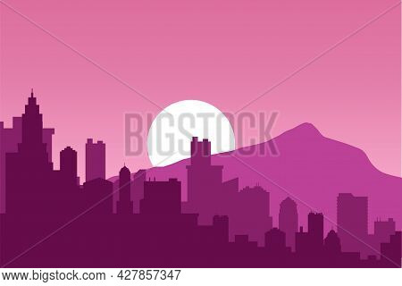 Sunrise In A Cityscape With Mountains, Vector Purple Background. Nice Natural Sunrise Scenery On The