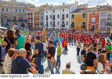 Cuenca, Spain - September 18, 2015: Crowd of people in Plaza Mayor in Cuenca during The San Mateo fiesta before bull running