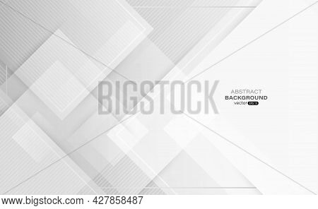 Square Shapes Overlapping On Gray Abstract Background. Composition With Line Stripe. Design For Your
