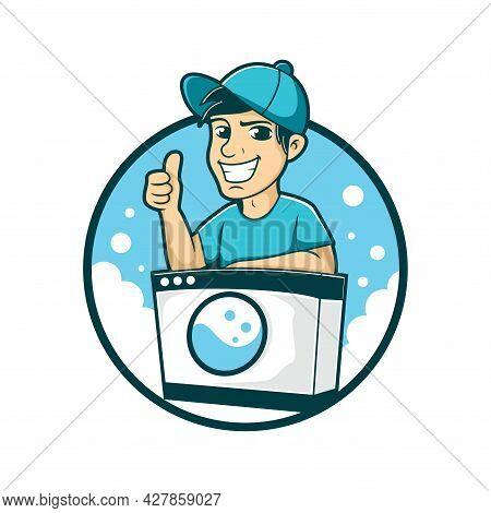 Laundry Cartoon Logo, Laundry Character Design Vector Illustration