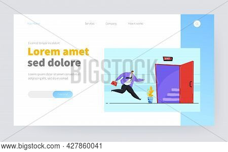 Cartoon Businessman Running To Opened Exit Door. Flat Vector Illustration. Worker Escaping From Offi