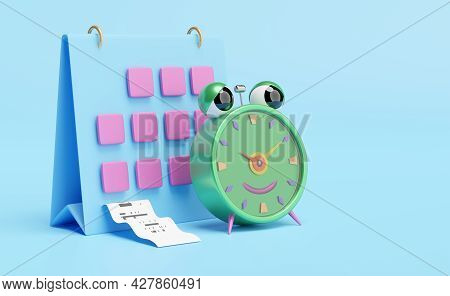 Cartoon Character Alarm Clock Wake-up Time Morning With Calendar,invoice Or Paper Check Receipt,spac