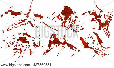 Set Of Blood Spatter, Realistic Texture Isolated On White Background. Red Blot With Splashes, Spille