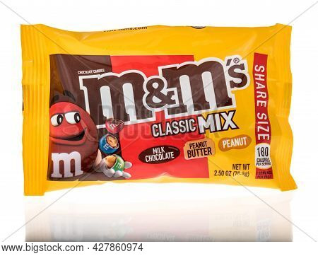 Winneconne, Wi -18 July 2021:  A Package Of M M Classic Mix Milk Chocolate Peanut Butter And Peanut