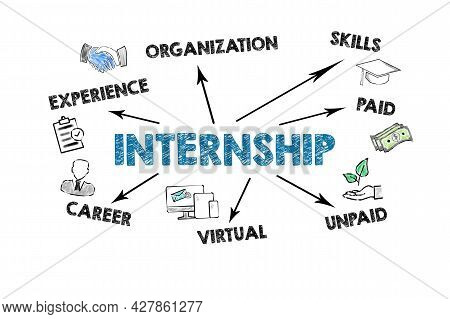 Internship. Experience, Skills, Paid Adn Career Concept. Information And Illustration On A White Bac