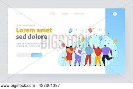 Group Of Friends Celebrating Birthday Or Team Success. Happy People Dancing At Party With Confetti A