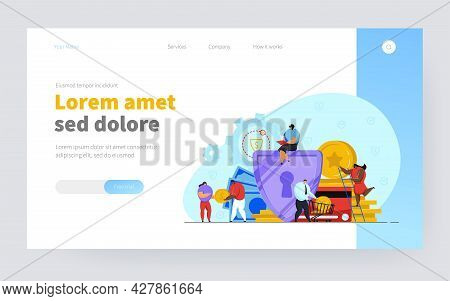 Bank Employees Protecting Money. Shield Protecting Cash, Safe Business Flat Vector Illustration. Mon
