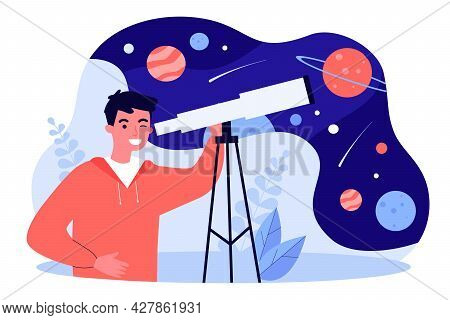 Young Man Looking At Stars And Planets Through Telescope. Boy Using Equipment For Observing Space Fl