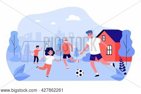 Happy Family Playing Soccer In Backyard. Dad, Children And Grandfather Playing Football Outside Flat
