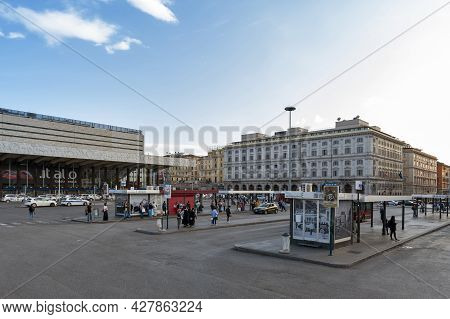 Rome, Italy - October 2019: Bus Stops At Piazza Dei Cinquecento In Front Of Roma Termini, The Main R