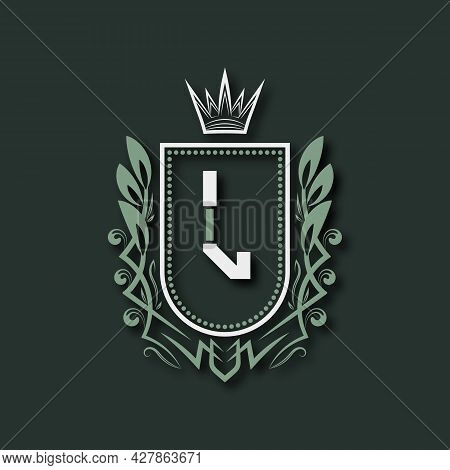 Vintage Premium Monogram Of Letter L. Heraldic Coat Of Arms In Form Of Shield Surrounded By Floral O