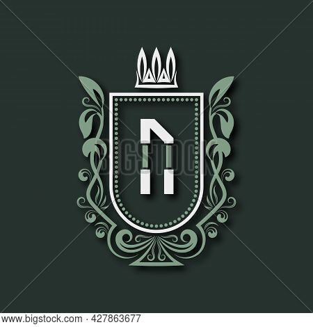 Vintage Premium Monogram Of Letter N. Heraldic Coat Of Arms In Form Of Shield Surrounded By Floral O