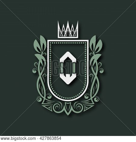 Vintage Premium Monogram Of Letter Q. Heraldic Coat Of Arms In Form Of Shield Surrounded By Floral O