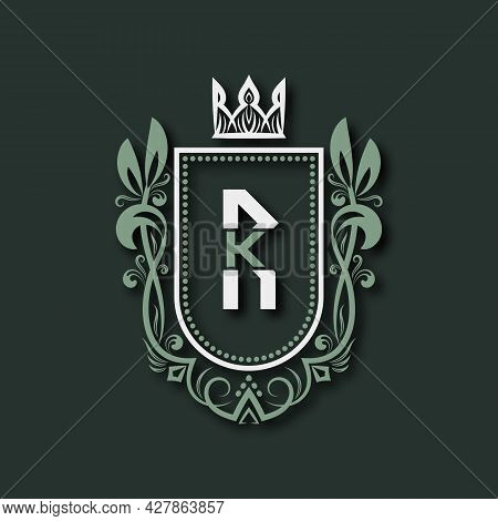 Vintage Premium Monogram Of Letter R. Heraldic Coat Of Arms In Form Of Shield Surrounded By Floral O