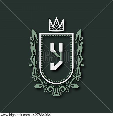 Vintage Premium Monogram Of Letter Y. Heraldic Coat Of Arms In Form Of Shield Surrounded By Floral O