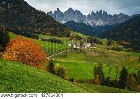 One Of The Most Beautiful Alpine Place Of The World, Santa Maddalena Village With Stunning Dolomites