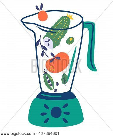 Blender With Vegetables. Food Processor, Mixer. Cucumber, Tomato, Peas, Spinach. Vegetable Smoothie