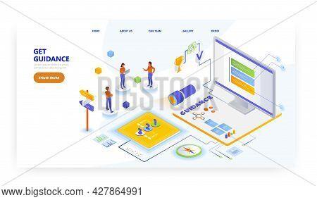 Get Guidance, Landing Page Design, Website Banner Vector Template. User Guide. User Manual.