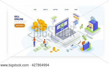Sell Online, Landing Page Design, Website Banner Vector Template. Electronic Commerce, Retail Busine