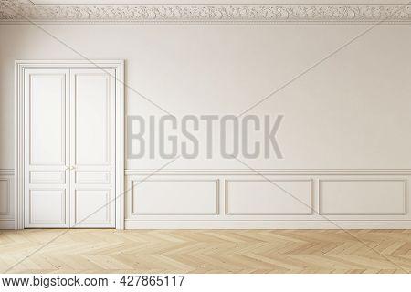Classic Beige Interior With Door, Moldings And Parquet. 3d Render Illustration Mockup.
