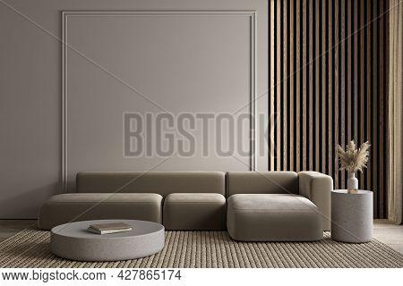 Modern Minimalist Gray, Beige Interior With Sofa, Wall Moldings, Carpet And Decor. 3d Render Illustr