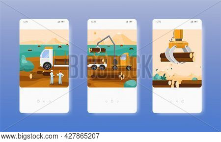 Timber Transportation. Forestry, Wood Industry. Mobile App Screens, Vector Website Banner Template.