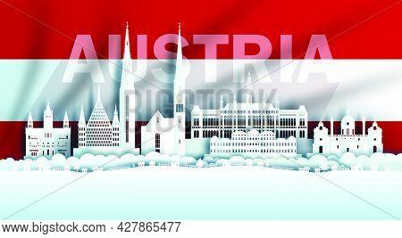 Illustration Anniversary Celebration Austria Day In Austrian Flag Background With Travel Landmarks A