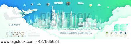 Modern Business Brochure Design For America Landmarks Advertising With Infographics.travel Landmark