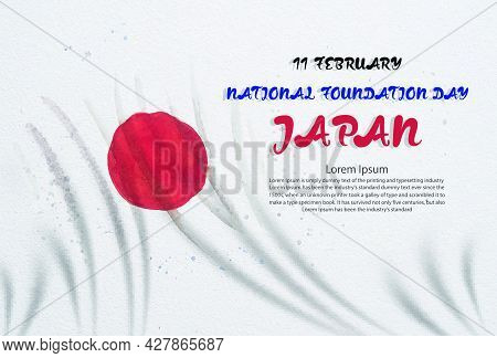 Watercolor Painting Japan Flag National Foundation Day Greeting Card, Paintings Illustration Anniver