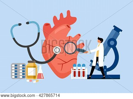 Heart Attack, Heart Disease Treatment Concept. Human Circulatory System. Cardiology Clinic.